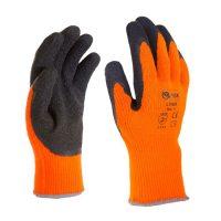 LY2029 Kötött téli kesztyű, narancssárga, fekete latex mártással (12 pár)